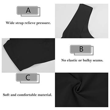 Damen Nahtlos und Drahtlos Sport BH Einteilige Underwear Schlaf BH Weich Gepolsterter BH für Frauen (Schwarz+Hautfarbe+Grau, M) - 3