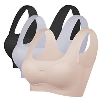 Damen Nahtlos und Drahtlos Sport BH Einteilige Underwear Schlaf BH Weich Gepolsterter BH für Frauen (Schwarz+Hautfarbe+Grau, M) - 1