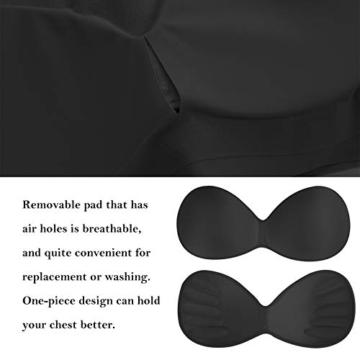 Damen Nahtlos und Drahtlos Sport BH Einteilige Underwear Schlaf BH Weich Gepolsterter BH für Frauen (Schwarz+Hautfarbe+Grau, M) - 6